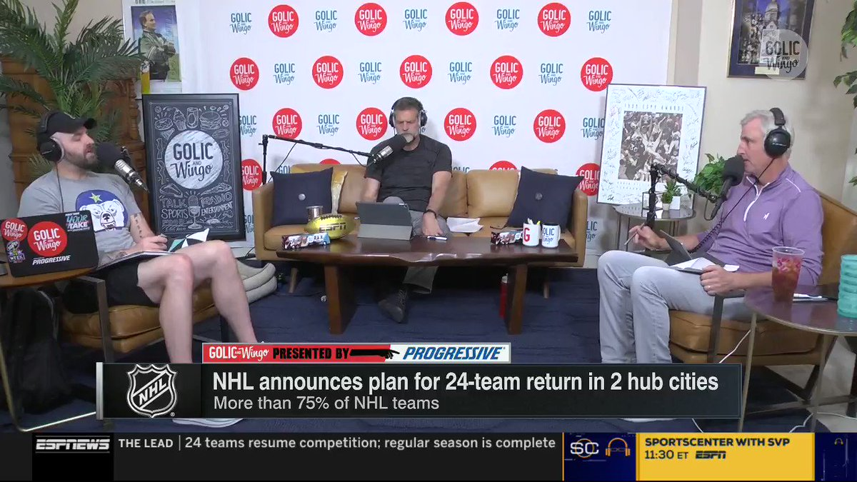 """""""It's all about presentation and the NHL has done the best job of presenting all the information to us."""" -@mikegolicjr after the NHL announced a plan for a 24-team return in 2 hub cities."""