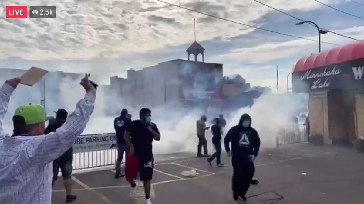 Now: Minneapolis police launch tear gas at protesters who are out again this evening demanding justice for George Floyd who was murdered by police on Monday. Video: Bernierotica