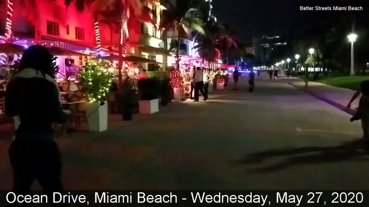 First evening of restaurants open in #MiamiBeach.    May this be a new beginning for #OceanDrive.pic.twitter.com/jslA8cDiYy