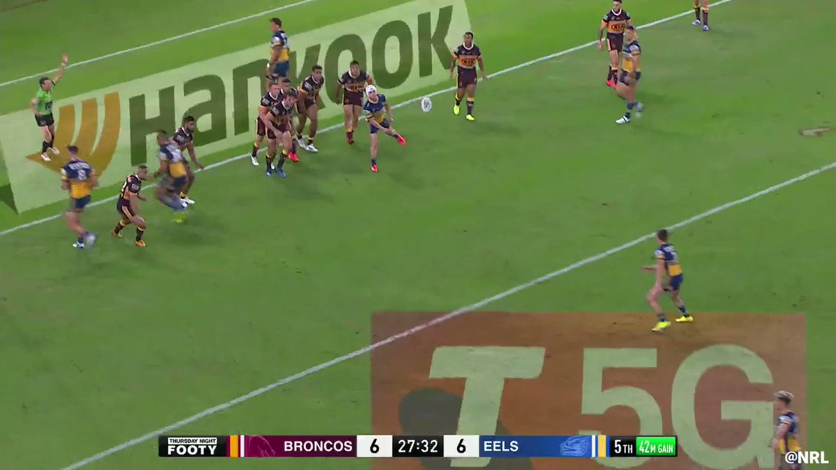 How did he get that down?! 😱#NRLBroncosEels 6-12 after 29 minutes.#TelstraPremiership
