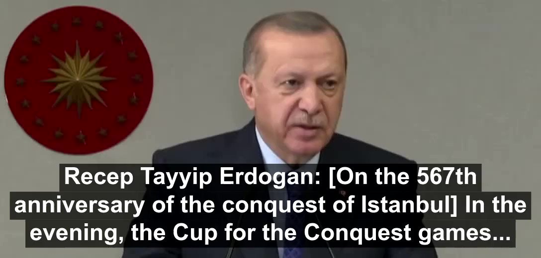 #Turkeys President #Erdogans dream of branding himself as the Caliph will get a new road marker tomorrow. He announced today that the Conquest Chapter from Quran will be recited in Hagia Sophia tomorrow on anniversary of Ottoman conquest of Istanbul. #SymbolismMatters
