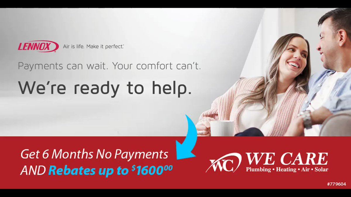 Payments can wait.  Your comfort can't.  We're ready to help.   Get 6 Months No Payments AND Rebates up to $1600 on a new Lennox system.   Call 888-229-8018 to learn more!  #wecare #hvac #ac #murrietaca #temecula #orangecounty #inlandempire #socalweatherpic.twitter.com/US7WuJ0tFs