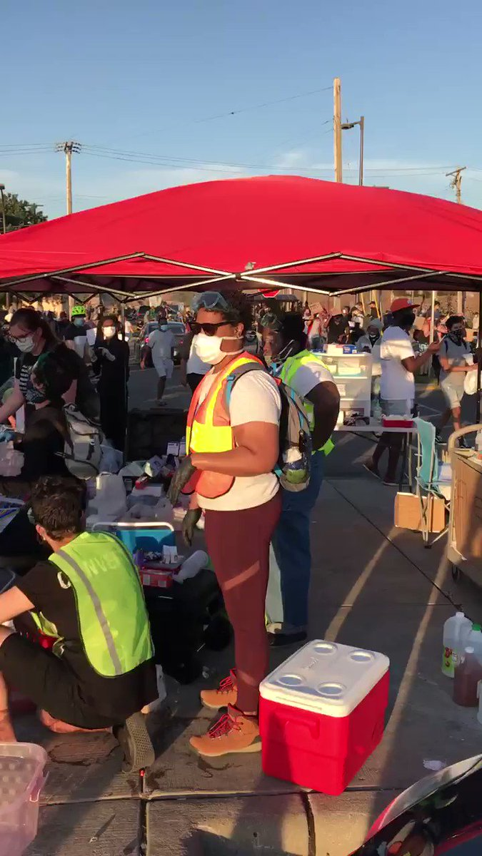 Stolen target goods have been turned into a place for protests to get items/help.