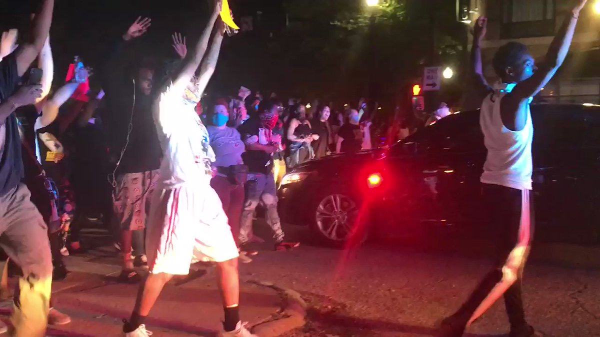Large protest moving through the streets of Louisville for #BreonnaTaylor, a Black woman shot and killed by police who barged into her home