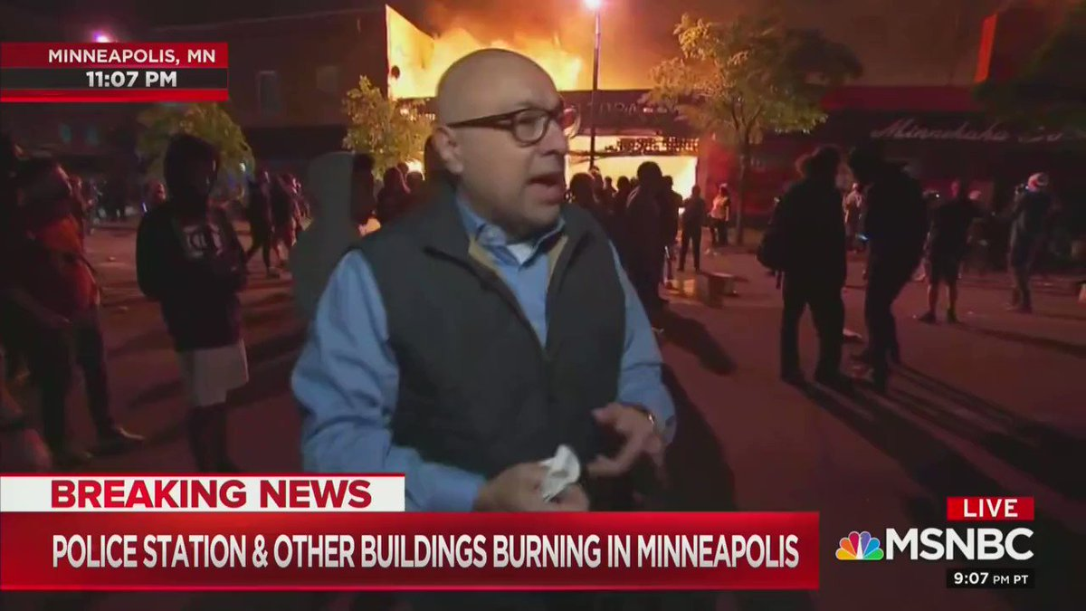 "The ""this is fine"" meme has come to life. MSNBC reporter in Minneapolis: ""I want to be clear on how I characterize this. This is mostly a protest. It is not generally speaking unruly."