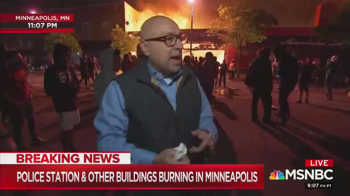 This is mostly a protest. It is not, generally speaking , unruly. — NBC reporter standing in front of a burning building.