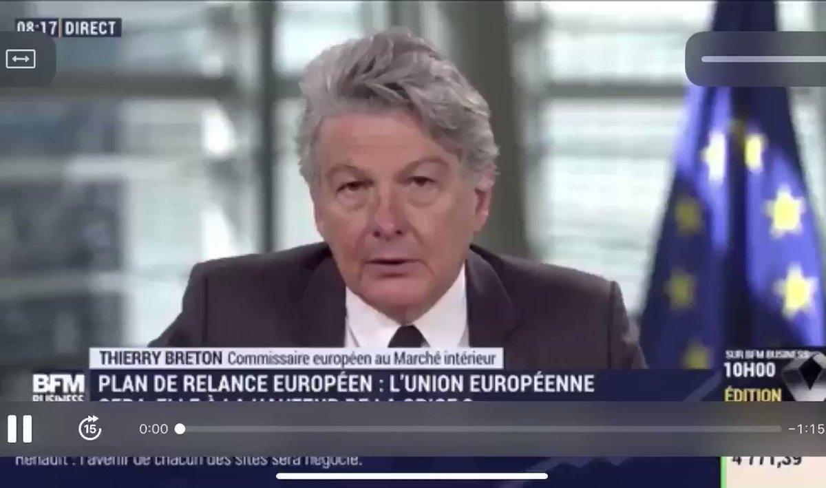 Nous avions prévenu et c'est désormais @ThierryBreton qui le dit «l'idée c'est que la commission européenne puisse lever de l'impôt». La logique fédérale se met en place. #Bruxelles