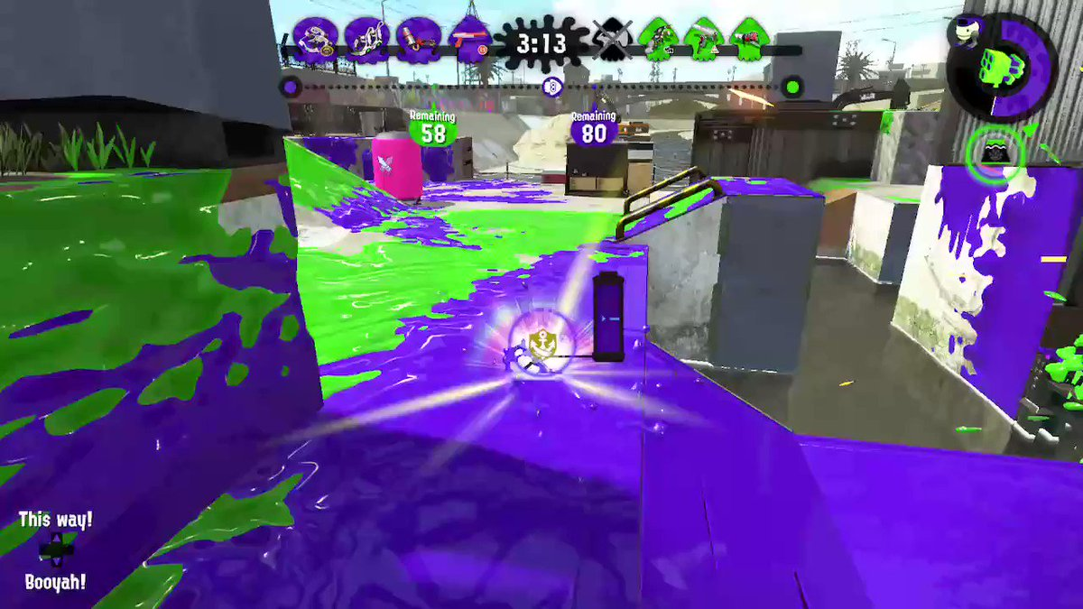 That moment when you fall into the water with the Rainmaker and an opponent decides to join you. XD  #Splatoon2 #NintendoSwitch