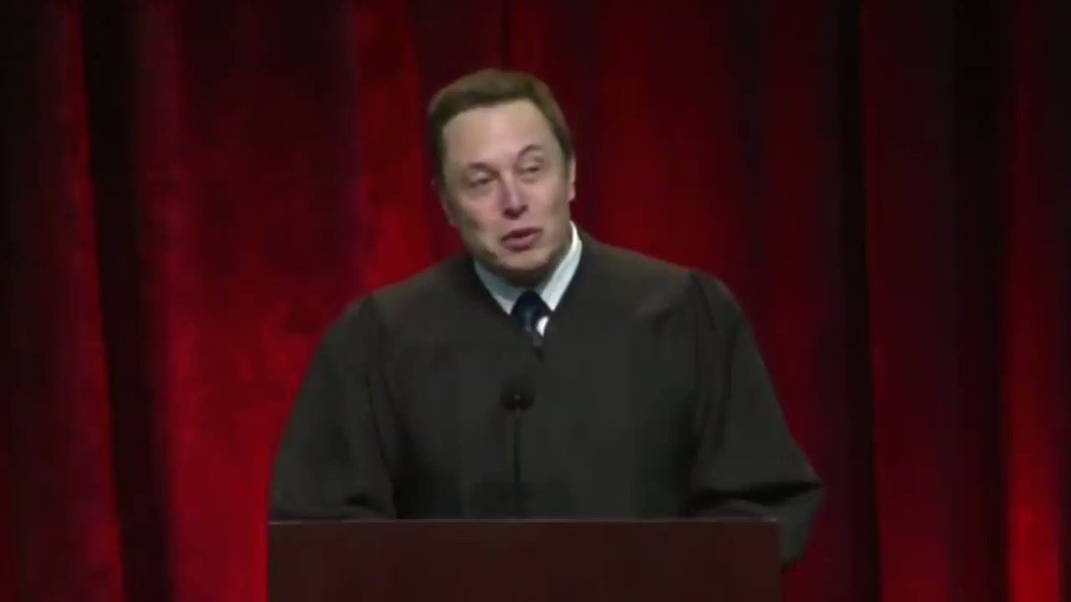 """Elon Musk's USC commencement speech in 2014:  """"Work hard, like, every waking hour. If you do the simple math, say that someone else is working 50 hours and you're working 100, you'll get twice as much done in the course of the year as the other company."""" https://t.co/mMR9VhBl7s"""