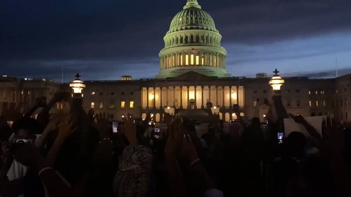 Heartbreaking scene of protesters outside the Capitol Building in Washington, DC NOW chanting, Dont Shoot, Hands Up! #GeorgeFloyd