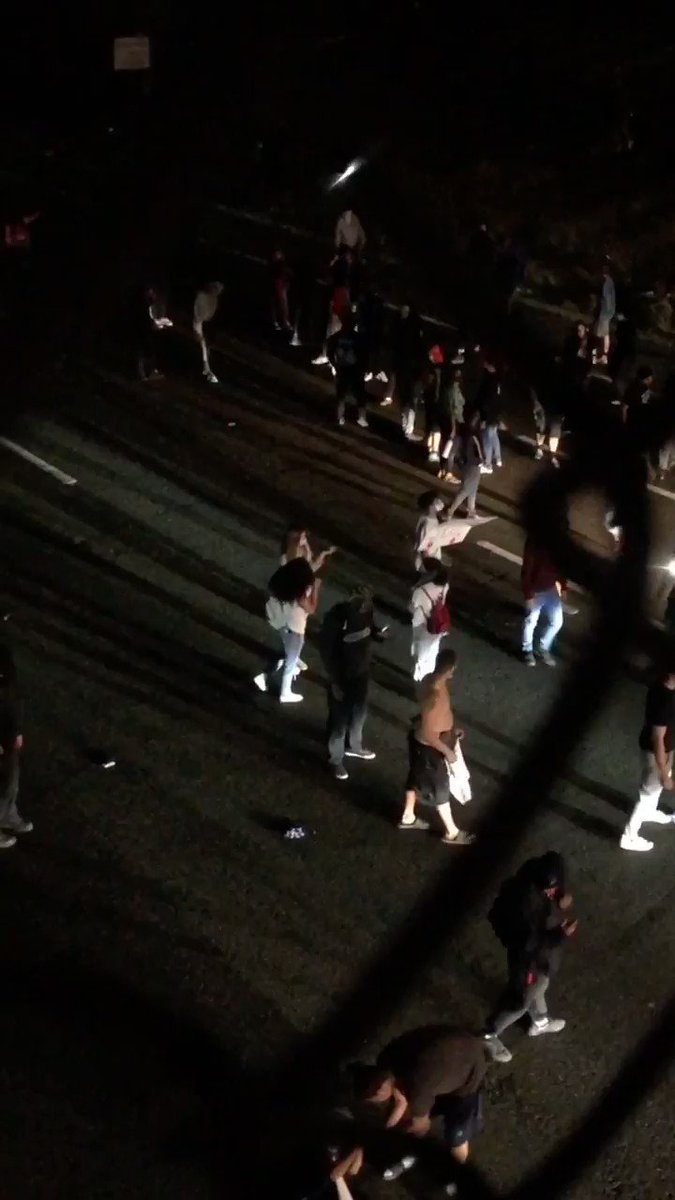 Protesters have taken to 99 South blocking traffic
