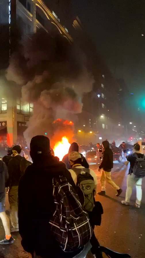 I was at the Downtown #LosAngeles Riots tonight... this is what it was like. Unreal. Just listen. #GeorgeFloyd