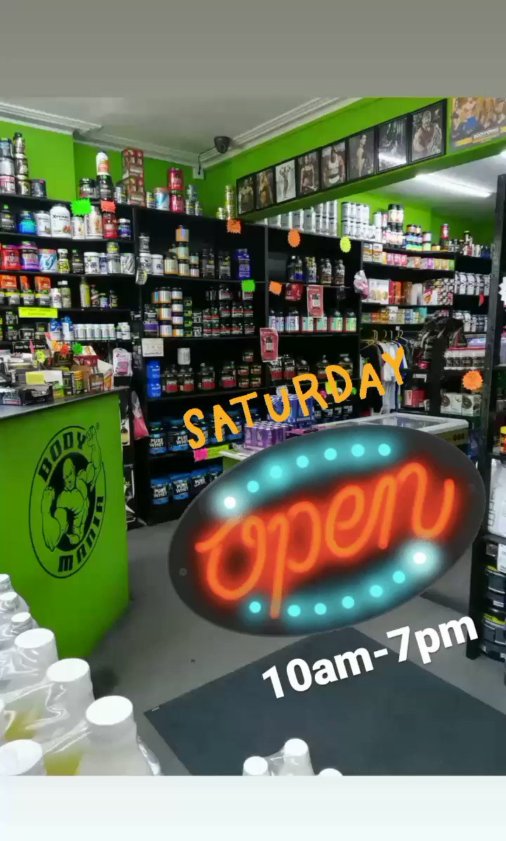 #SaturdayVibes here @bodymanialtd! We are open for #business from 10am-7pm for all your sports nutrition supplements and essential items to keep you #motivated! #SaturdayMotivation #fitness #motivation #bodybuilding #healthylifestyle #Wellbeing #weekend