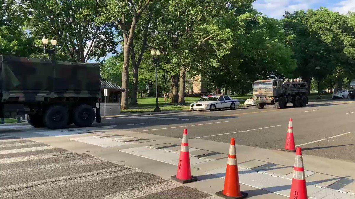 Military convoy seen travelling through DC   (via @mikememoli ) #GeorgeFloyd