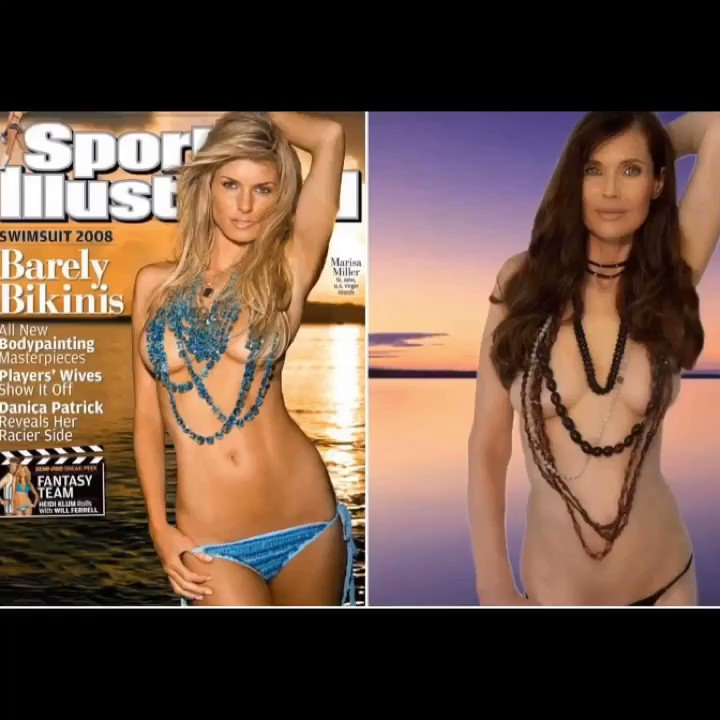 I copied Marisa miller but then- Who is who? I was completely shocked & had to look 2X but absolutely totally flattered when Hanna & Sierra copied my Sports Illustrated photo 4 the #swimsuiticonchallenge #swimsuits #feelthelove #youarebeautiful