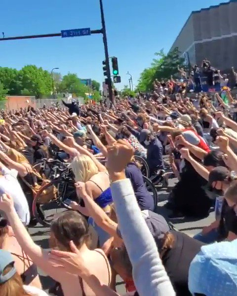 Peaceful protest in Minneapolis. Share this. Post this. It's not exciting, it's not shocking, but it is POWERFUL.
