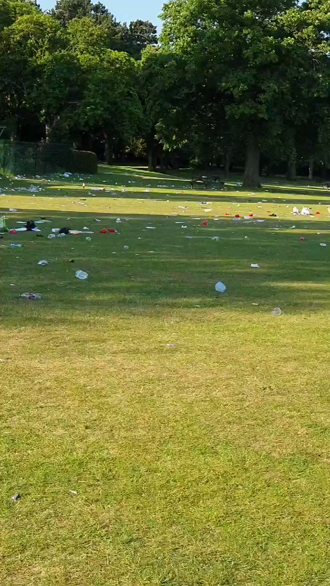 I was greeted by this sea of litter this morning @cannonhillpark absolutely disgraceful this is a wonderful open green space for all of us to enjoy! Take your rubbish home!