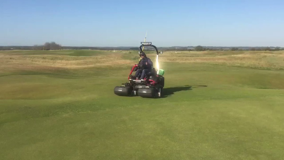 Image for the Tweet beginning: Verticutting and mowing greens this