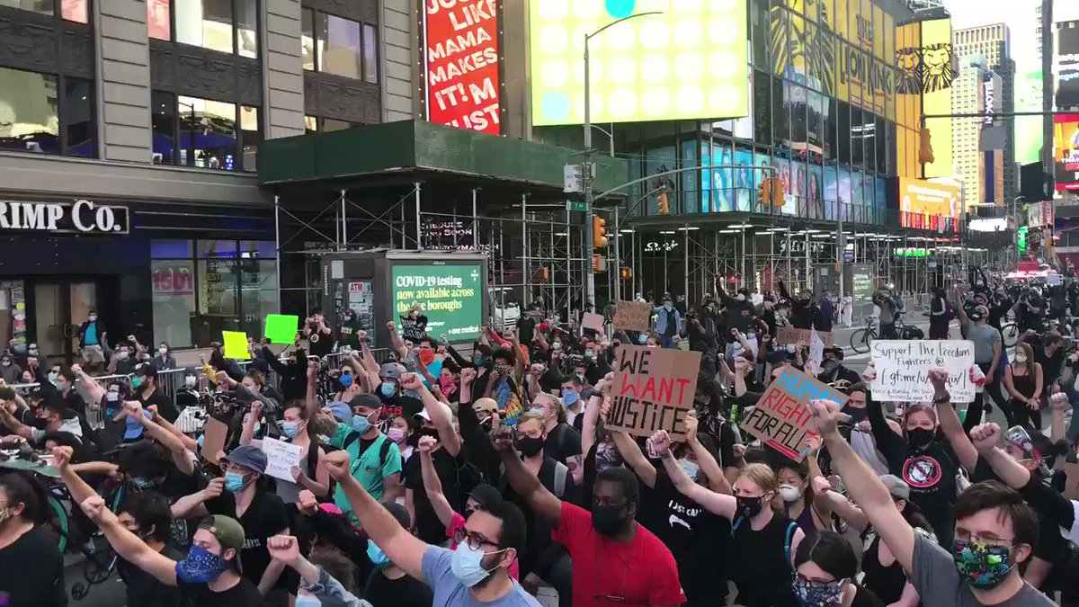 They Aren't Us. Those Looting, Burning, Destroying, They Aren't Us.  We Want Fair Justice. We Want Fair Elections. We Want Fair Wages. We NEED #HealthCare. We Want Not To Be Killed Because We Look Different From You.  Peaceful Times Square  #NYCProtestpic.twitter.com/9unI9XELbA