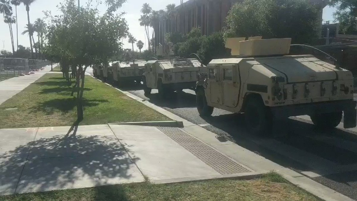 Ten National Guard Hummers parked outside the AZ Capitol right now. @abc15