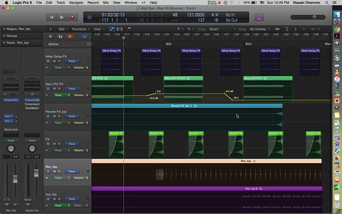 """""""Alter Ego"""" in progress. I'm trying to finalize how the tune ends.  #technomusic #electronicmusic #logicpro pic.twitter.com/uTR248fQs8"""