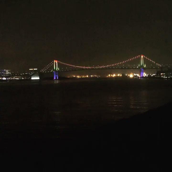 花火業者有志による「Cheer up!花火プロジェクト」 . お台場から打ち上げがあるかと思い、待機してましたが、残念ながらお台場からは花火は打ち上がりませんでした . 代わりに、レインボーブリッジの点灯が見れました . #悪疫退散 #東京 #お台場 #レインボーブリッジ #rainbowbridgepic.twitter.com/pG1QOik8Xm