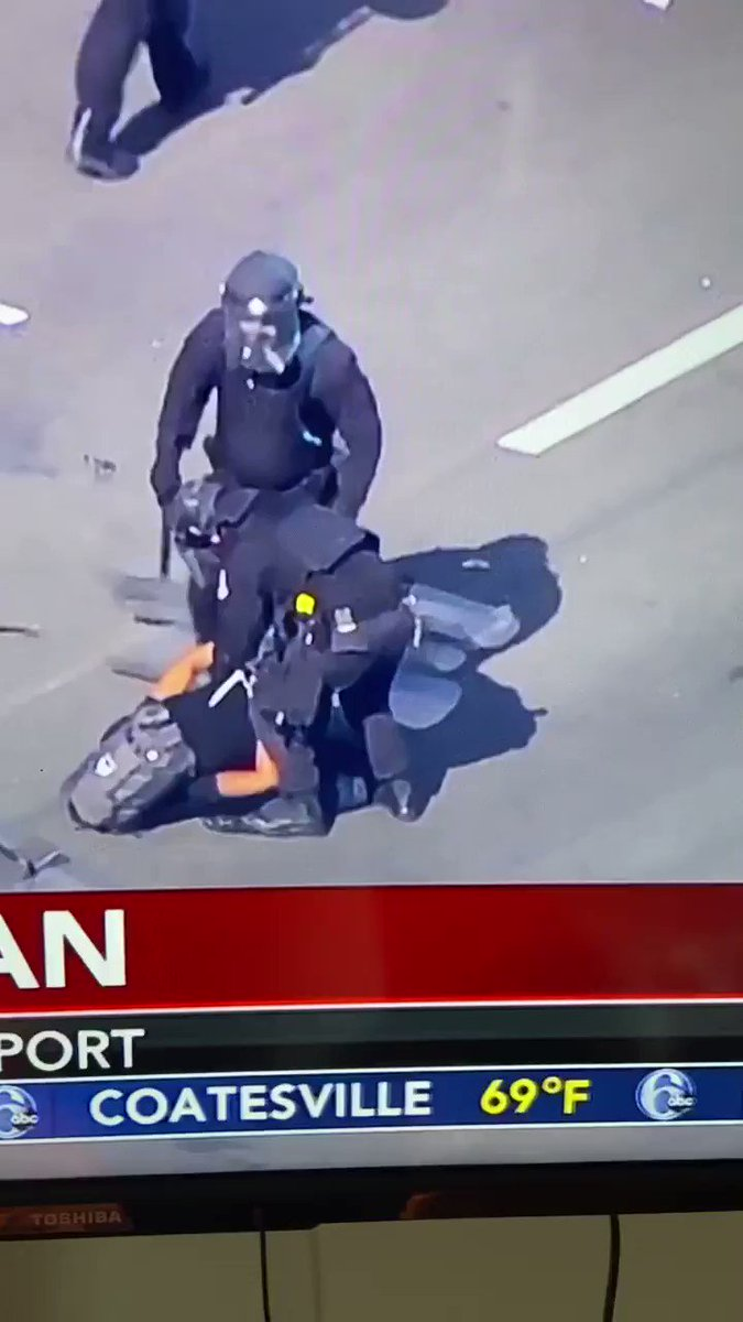 Protesters who blocked a highway in Philadelphia are being arrested by the police now.