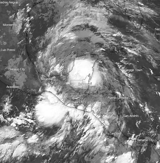 Image for the Tweet beginning: Tropical Depression Three spinning in
