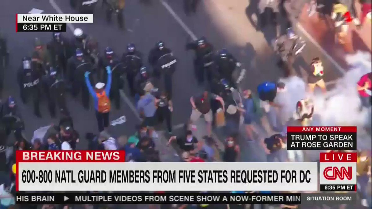 Heres the moment where police fired teargas into a crowd of peaceful protesters in Lafayette Park, just minutes before Trumps address in the Rose Garden.