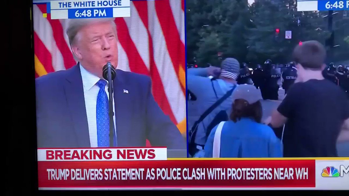 😷💔🇺🇸#trumpPressBriefing  LMAO! The @POTUS had the police move the peaceful protest so he could act like he's in charge. TRUMP threatened Governors that if they don't stop the riots he will w US Military... then he said something weird at the end...