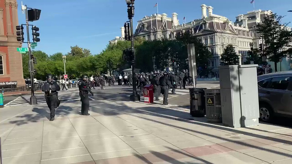 """Here is what was happening outside the White House as President Trump was giving his Rose Garden address and saying he is an """"ally of all peaceful protestors."""" Peaceful protestors being tear gassed outside of the WH gates. I confirmed because I was teargassed along with them."""