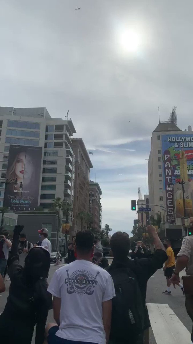 LOS ANGELES: protesting on hollywood blvd