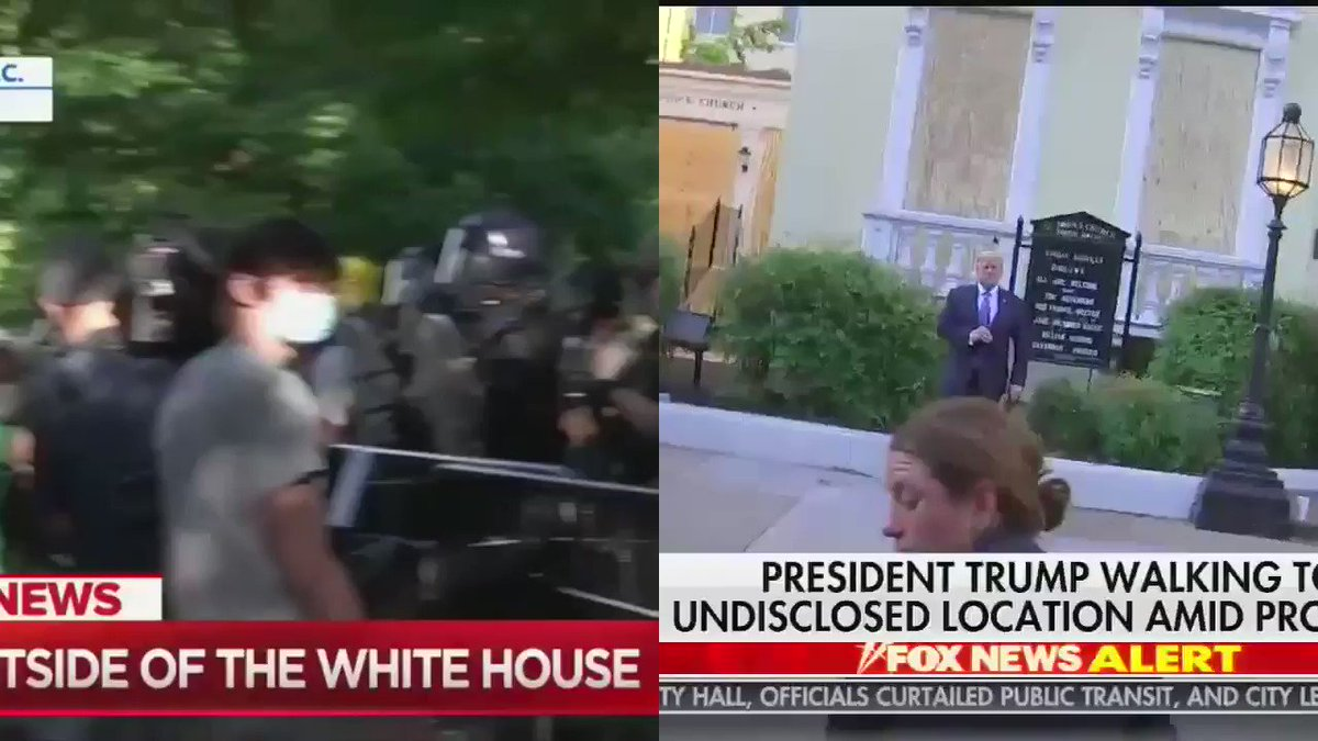 I put the videos of police clearing out Lafayette Square and Trump's photo op side by side.