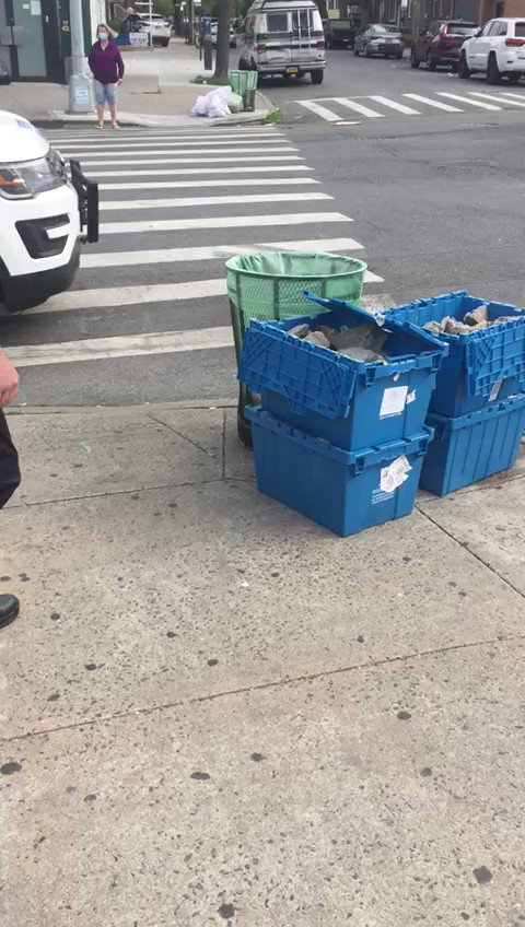 NYPD removing bricks from Ave X in Brooklyn. Bricks have been places strategically around Brooklyn in anticipation of protests. ANTIFA is way more organized than politicians pretend.