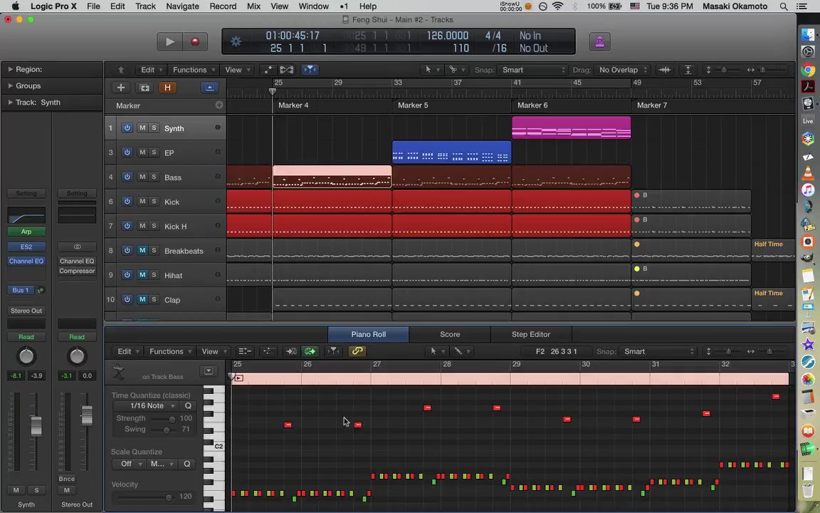 """""""Feng Shui"""" being drafted. Balancing the volume of EP and Synth.  #technomusic #electronicmusic #logicpro pic.twitter.com/36FUplSySs"""