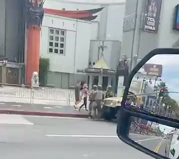 View of heavily-armed National Guard troop presence on #Hollywood Blvd for today's #GeorgeFloyd protest:pic.twitter.com/SceYv3etjZ