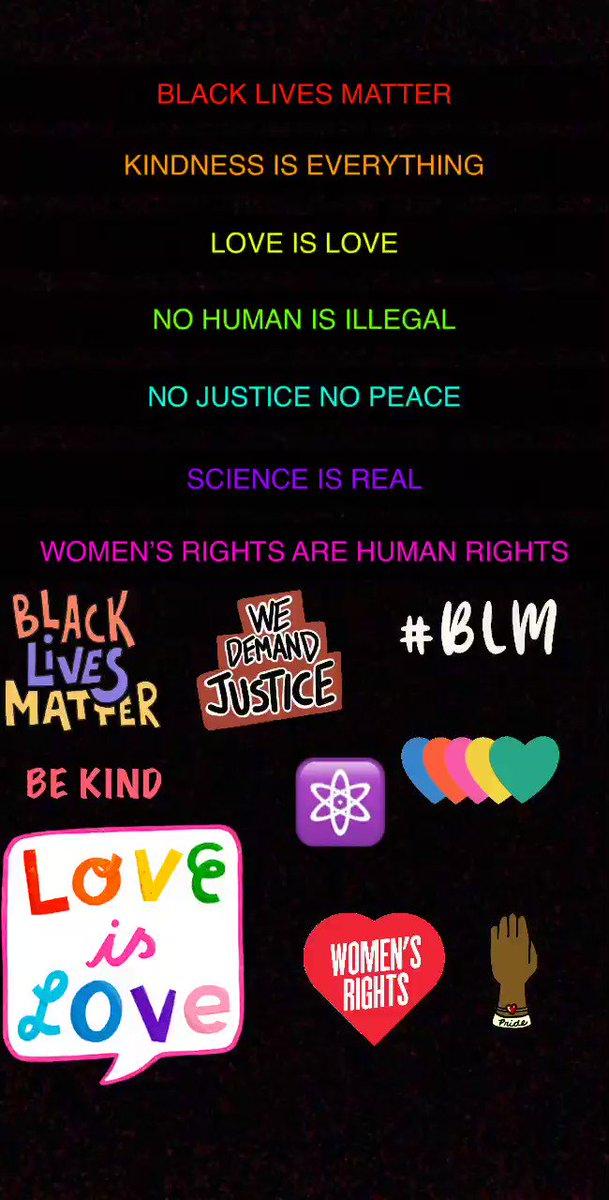 #BlackLivesMattter #kindnessiseverything #loveislove #nohumanisillegal #NoJusticeNoPeace #scienceisreal #womensrightsarehumanrights