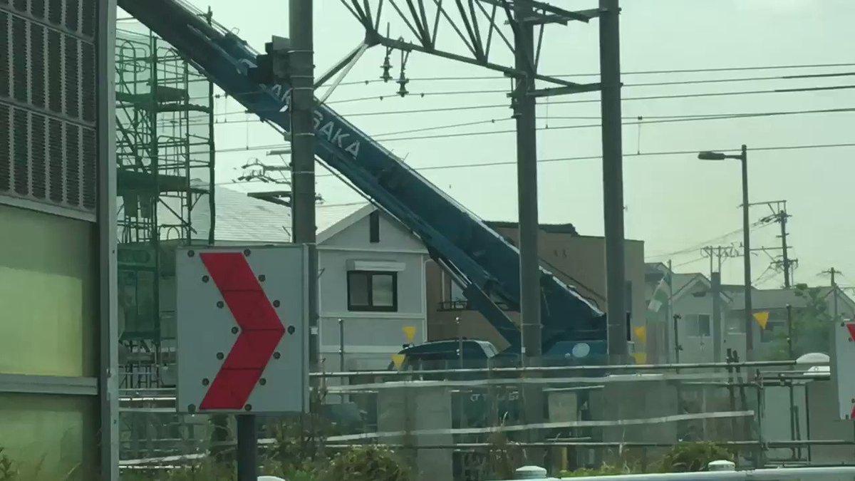 6/3 午前8:40頃、喜多山踏切の高架工事の現場でスパーク→直後に尾張旭行きの電車が通過した際に架線切断(架線が切れる瞬間の動画) #名鉄瀬戸線 #名鉄