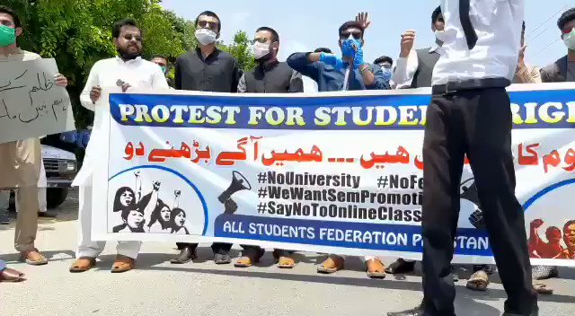 Latest visuals of Students Protest in front of HEC office Islamabad. Online Classes are just a formality, I guess and these is zero learning in these classes. Can we learn Graphics Designing on a phone call with slides? Online-Exam? Wow🤷🏻‍♂️ #NoSemesterFees #Protest_InfrontOfHEC