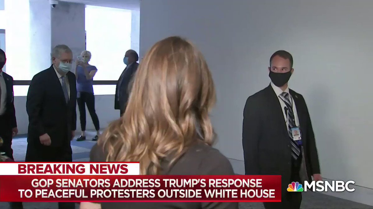 Yesterday, @kasie asked GOP Senators about how peaceful protests were dispersed in Washington