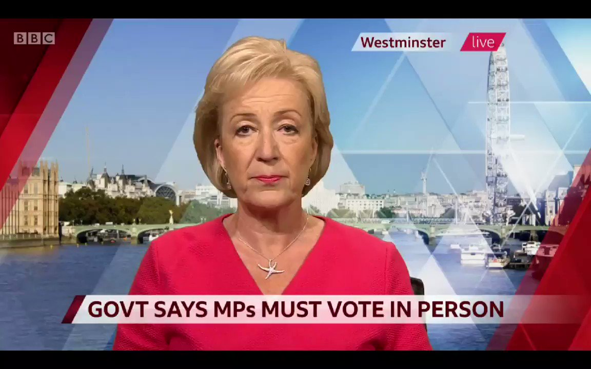 Image for the Tweet beginning: Andrea Leadsom suggest that remote