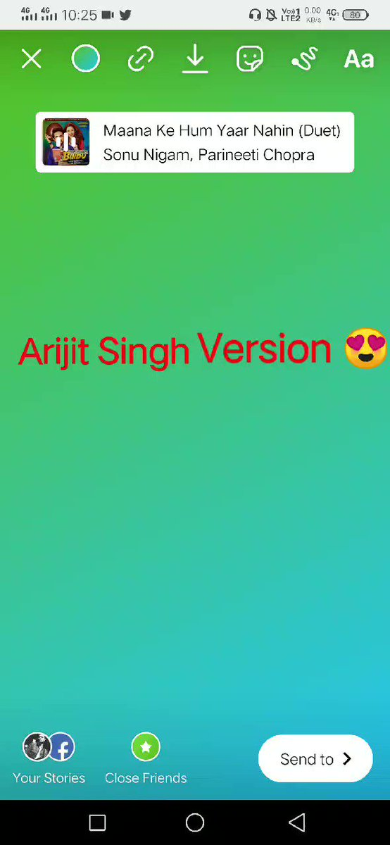 #MaanaKeHumYarrNahinArijitSinghVersion 😍 Go to 1.Instagram story 2. Click the sticker on top  3. Click on music  4. Search Maana Ke Hum Yaar Nehi Duet it was sung by Sonu Nigam sir but you will hear Arijit voice And please thanks to this man @AslamMilestone 🙏🙏 @TheArijitSingh