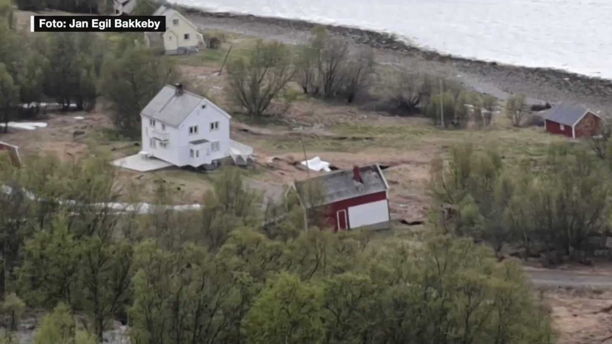 Just now in Alta, Norway: Huge mudslide dragging several houses into the sea.