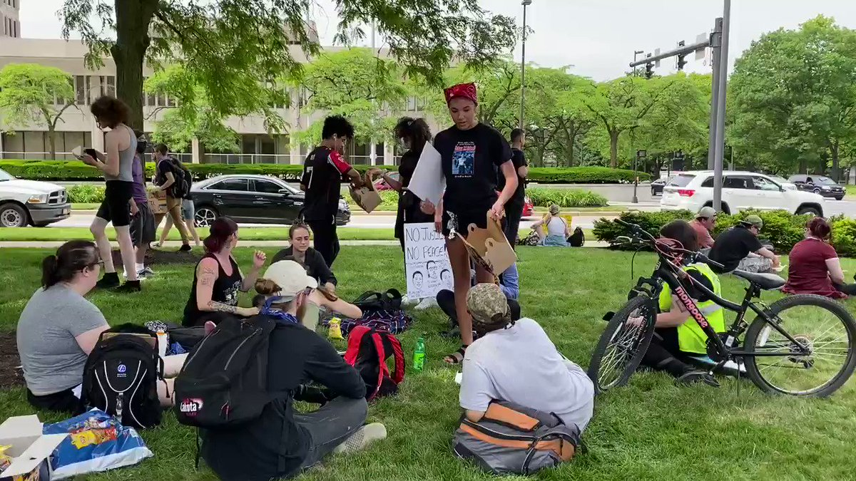 Protesters gathered on the courthouse green.