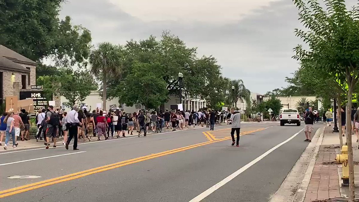 A huge march moving down Hendricks Ave in San Marco #JacksonvilleProtest