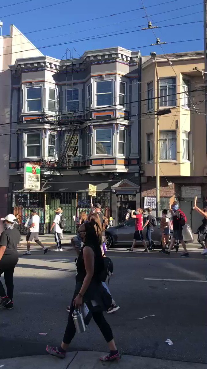 I dont know how, but they got a bus out here blasting the Clash. #sfprotest