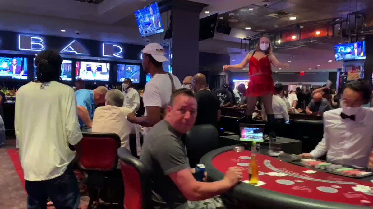 People did not waste any time at The D. Gaming floor is packed. #vegas #dtlv #reopenvegas