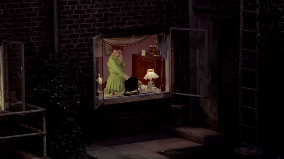 Rear Window (1954) Dir Alfred Hitchcock  I love this scene in Rear Window, the sad moment we witness with 'miss lonely hearts'. The sound design heightens the emotion. The moment is almost too intimate and highlights our own voyeuristic guilt.  #filmtwitter #film #cinema pic.twitter.com/ndWpu0WMJl