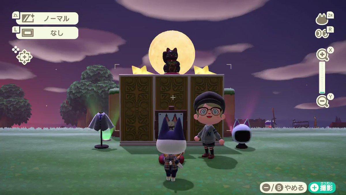 「黒」猫を崇めよ。 何で毎回こんな奇行したくなるんだろう( #どうぶつの森 #AnimalCrossing #ACNH #NintendoSwitch