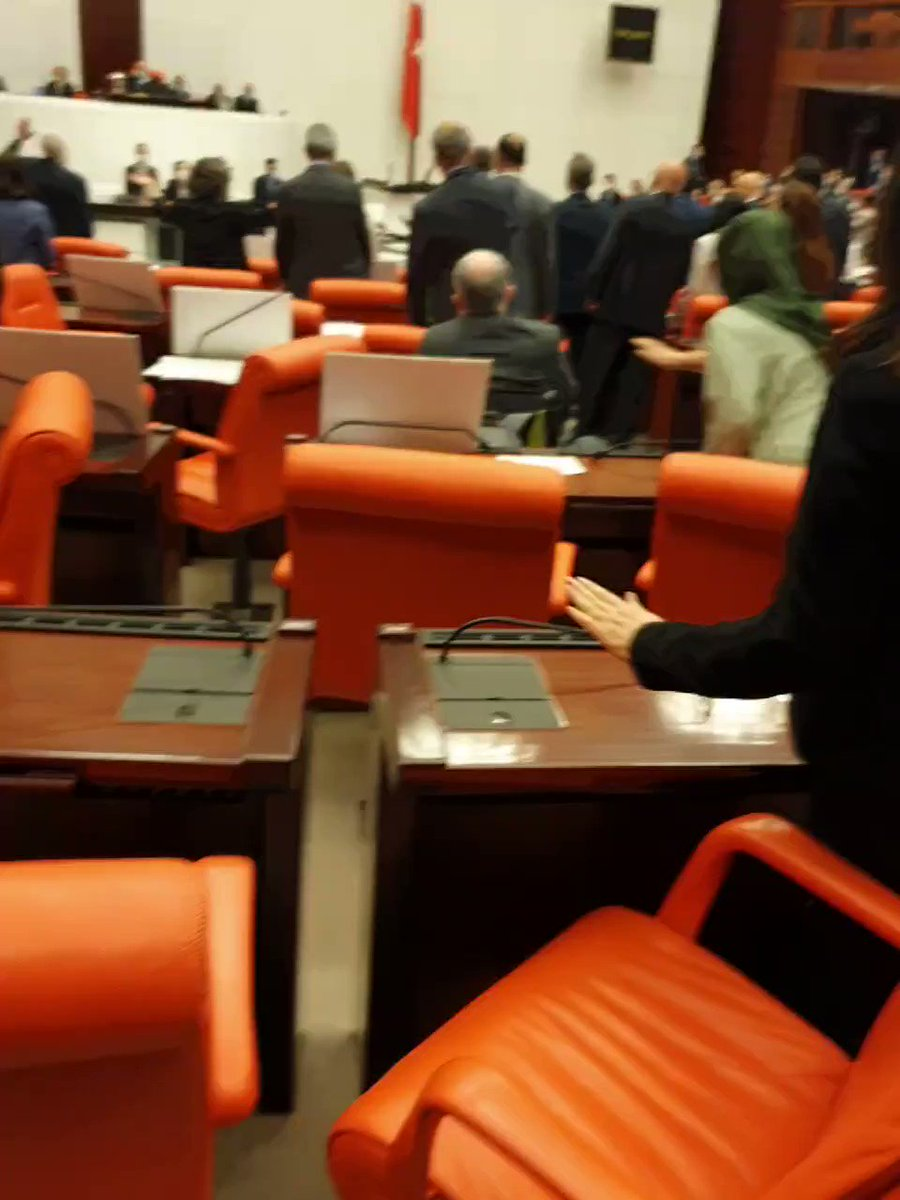 Reactions of the opposition lawmakers in Turkey's parliament after the parliamentary membership of HDP MPs @LeylaGuvenkcd & @m_farisogullari @ CHP MP @EnisBerberoglu1 has been removed by AKP & MHP MPs